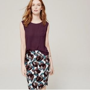 Ann Taylor LOFT size 4 purple floral pencil skirt